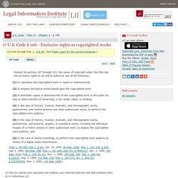 17 U.S. Code § 106 - Exclusive rights in copyrighted works