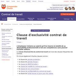Clause d'exclusivité contrat de travail - ComprendreChoisir