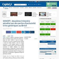 SANOFI : deuxième trimestre pénalisé par des pertes d'exclusivité et les génériques au Brésil
