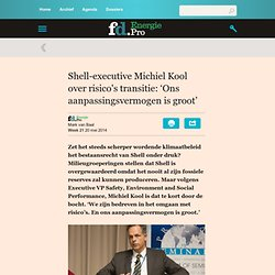 Energie Pro - Shell-executive Michiel Kool over risico's transitie: 'Ons aanpassingsvermogen is groot'