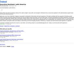 Executive Assistant, Latin America - Washington, DC - Indeed Mobile