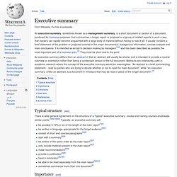 Executive summary from Wikipedia