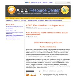 ADHD: Executive Function Impairments