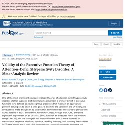 Validity of the Executive Function Theory of Attention-Deficit/Hyperactivity Disorder: A Meta-Analytic Review - PubMed