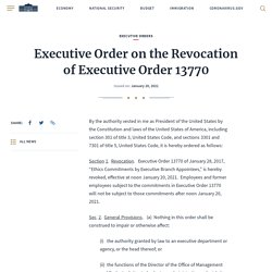 Executive Order on the Revocation of Executive Order 13770