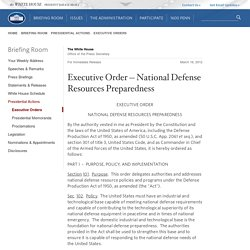 National Defense Resources Preparedness