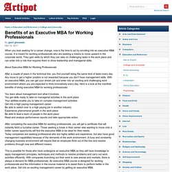 Benefits of an Executive MBA for Working Professionals
