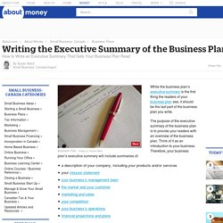 How to Write an Executive Summary - Business Plan Executive Summary