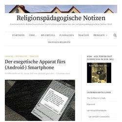 """Blogartikel zum Apparat auf """"Religionspädagogische Notizen"""""""