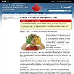 Archivé — Pratiques exemplaires 2008 - Prix du Premier ministre pour l'excellence en éducation de la petite enfance