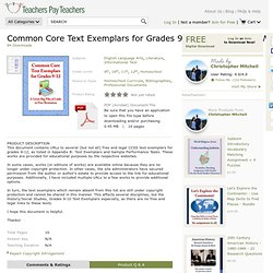 COMMON CORE TEXT EXEMPLARS FOR GRADES 9-12 - LINKS TO FREE WORKS