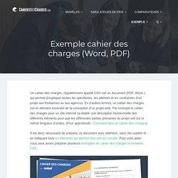 Exemple de cahier des charges à télécharger - Word, PDF...