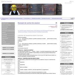 Exemple de contrat de cession - Droit et internet