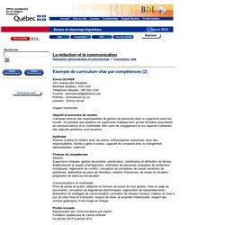 Exemple de curriculum vitæ par compétences (2)