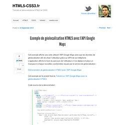 Exemple de géolocalisation HTML5 avec l'API Google Maps