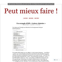 Un exemple d'EPI «Lettres -histoire
