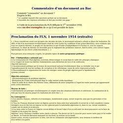 La proclamation du FLN