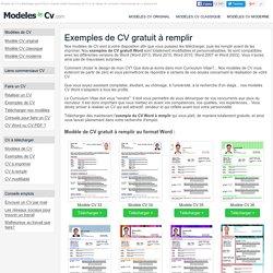 Exemple de CV à Remplir Gratuit au Format Word