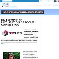 Un exemple de l'utilisation de SOCLES comme SPOC