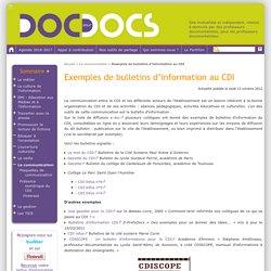 Exemples de bulletins d'information au CDI