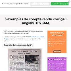 3 exemples de compte rendu BTS AM : écrit d'anglais