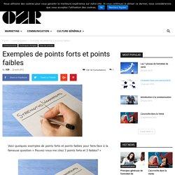 Exemples de points forts et points faibles - OZ RESSOURCES