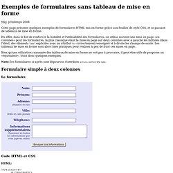 Exemples de formulaires sans tableau de mise en forme
