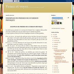 EXEMPLES DE PRIERES DE GUERISON PHYSIQUE