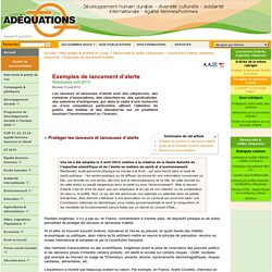Exemples de lancement d'alerte - Site de l'Association ...