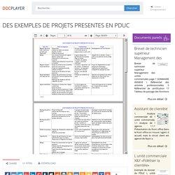 ⭐DES EXEMPLES DE PROJETS PRESENTES EN PDUC