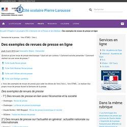 Des exemples de revues de presse en ligne - Cité scolaire Pierre Larousse - Toucy 89130