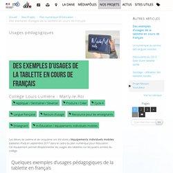 Des exemples d'usages de la tablette en cours de français