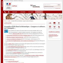 Exemples d'EPI dans la thématique « Langues et cultures de l'Antiquité »-Lettres-Éduscol