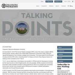 Title IX Exemption and I'm Proud of It - Oklahoma Wesleyan University