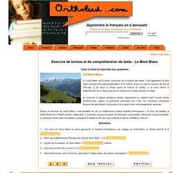 Exercice de lecture et de compréhension de texte : le Mont Blanc.