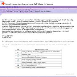 Recueil d'exercices diagnostiques - Classe de seconde - SVT - Académie de Dijon