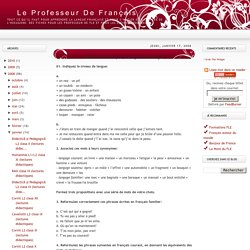 Exercices de lexique (les registres de langue)