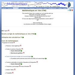Cours, exercices et devoirs corrigés de mathématiques en 1ère STMG
