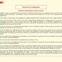 Exercices sur l'orthographe