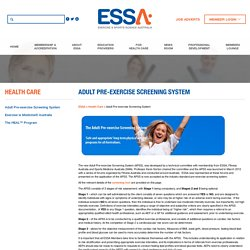 Adult Pre-exercise Screening System
