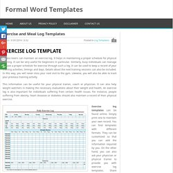 Exercise and Meal Log Template for Word & Excel