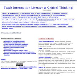 O. Exercises & Handouts - Teach Information Literacy & Critical Thinking!