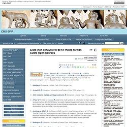 Liste (non exhaustive) de 61 Plates-formes LCMS Open Sources