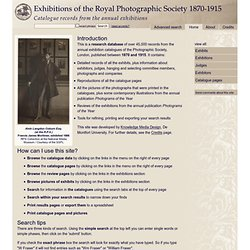 Exhibitions of the Royal Photographic Society 1870-1915