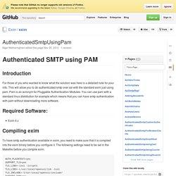 AuthenticatedSmtpUsingPam · Exim/exim Wiki