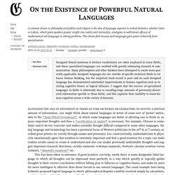 On the Existence of Powerful Natural Languages · Gwern.net
