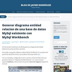 Generar diagrama entidad relacion de una base de datos MySql existente con MySql Workbench