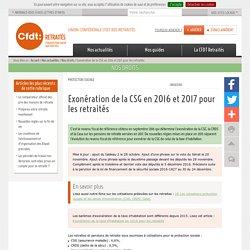 Exonération de la CSG en 2016 et 2017 pour les(...) / CFDT Retraités