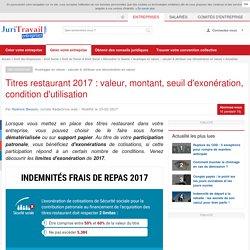 Titres restaurant 2016 : valeur, montant, seuil d'exonération, condition d'utilisation