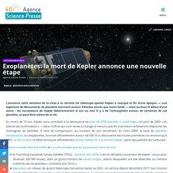 Exoplanètes: la mort de Kepler annonce une nouvelle étape